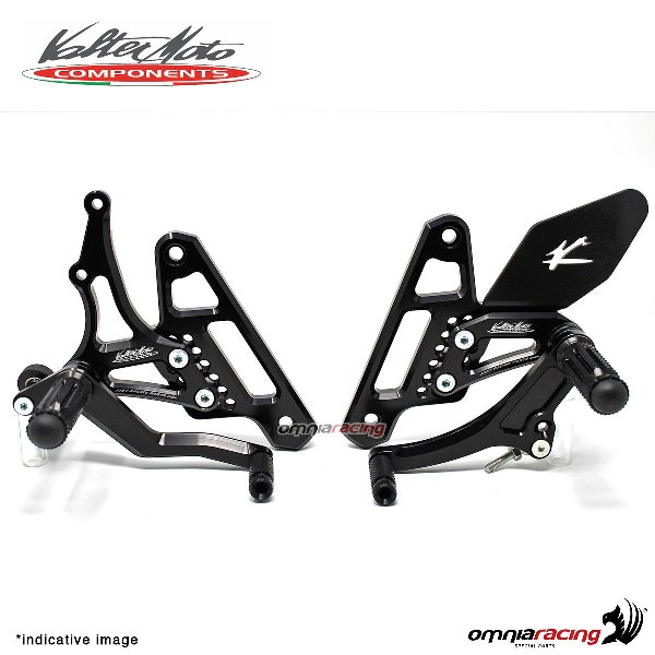 Adjustable rearsets Valtermoto Type 1.5 black for Honda Hornet 600 2007>2013