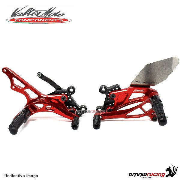 Adjustable rearsets Valtermoto Type 2.5 red for Triumph Daytona 675 2006>2012