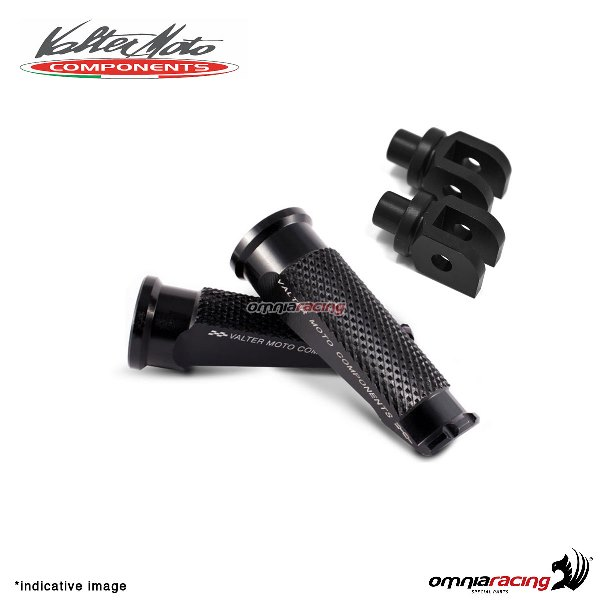 Valtermoto black footpegs + black adapters rider for Honda Hornet 600 2007>2013