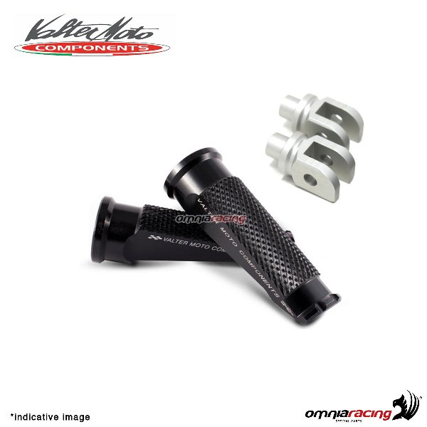 Valtermoto black footpegs + adapters rider for Honda Hornet 600 2007>2013