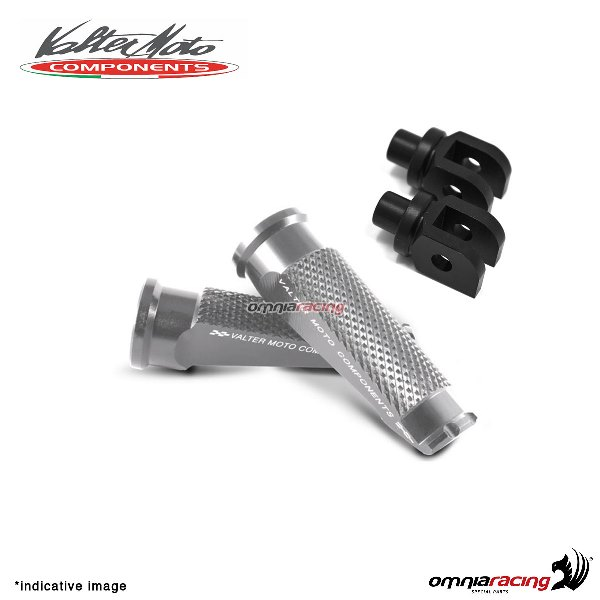 Valtermoto silver footpegs + black adapters rider for Honda Hornet 600 2007>2013