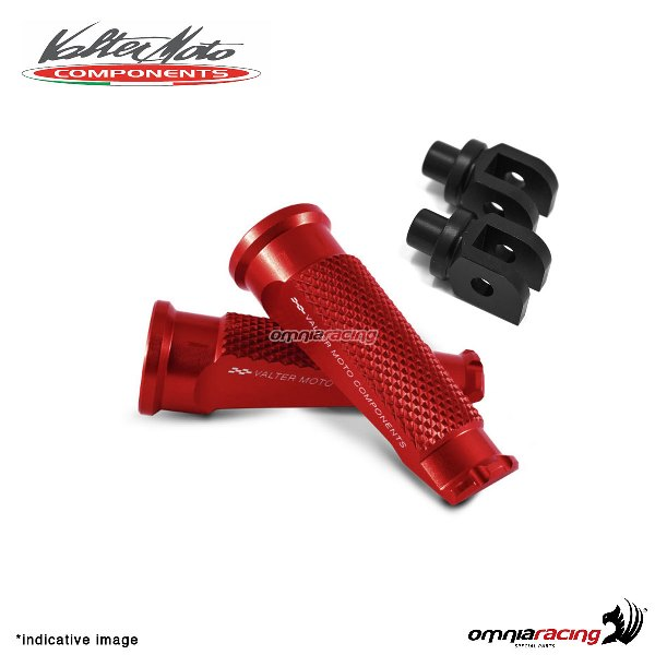 Valtermoto red footpegs + black adapters rider for Honda Hornet 600 2007>2013