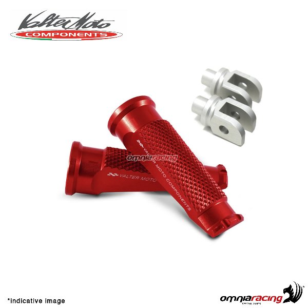 Valtermoto red footpegs + adapters rider for Honda Hornet 600 2007>2013
