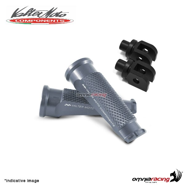 Valtermoto titanium footpegs + black adapters rider for Honda Hornet 600 2007>2013