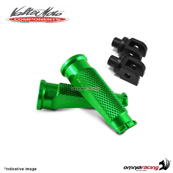 Valtermoto green footpegs + black adapters rider for Honda Hornet 600 2007>2013