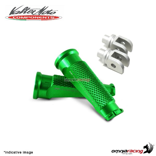 Valtermoto green footpegs + adapters rider for Honda Hornet 600 2007>2013