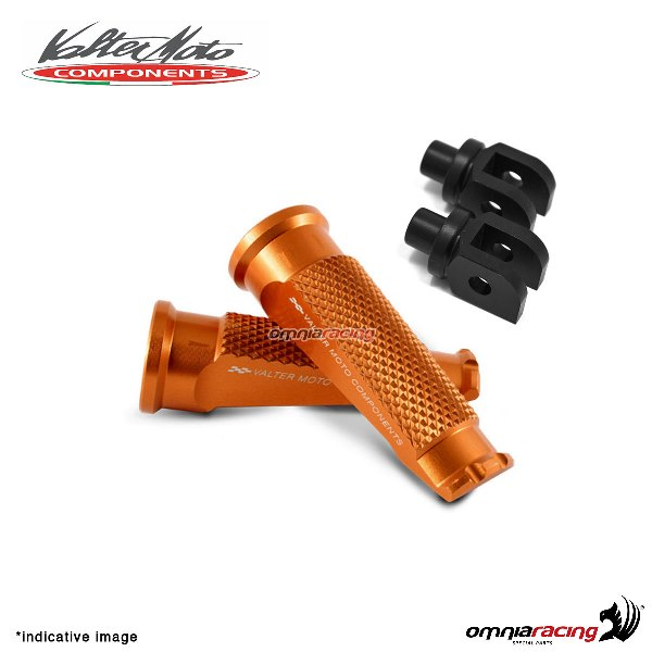 Valtermoto orange footpegs + black adapters rider for Honda Hornet 600 2007>2013