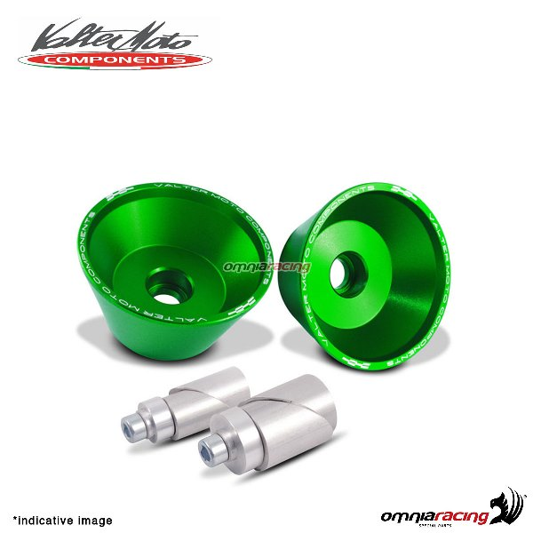 Front axle protections Valtermoto green + adapters kit for Suzuki GSXR600 2011>2016