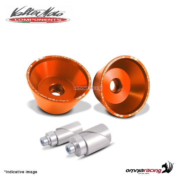 Front axle protections Valtermoto orange + adapters kit for Suzuki GSXR600 2011>2016