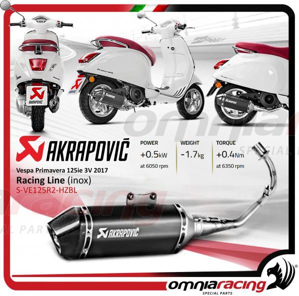 Akrapovic Steel Black Full Exhaust System For Vespa Primavera Sprint