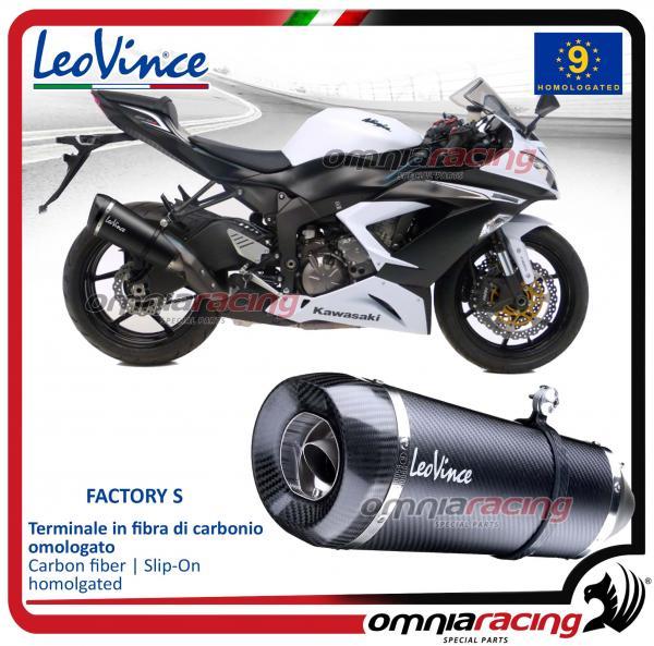 Leovince Factory S Slip On Exhaust Carbon Homologated For Kawasaki