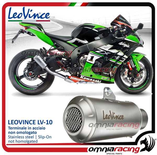 Leovince exhaust slip-on LV10 inox not homologated for KAWASAKI ZX10R NINJA  2016>2018