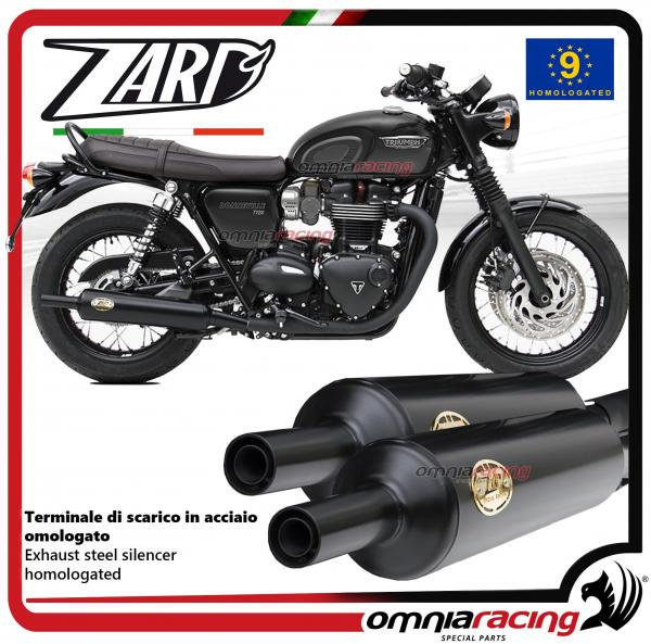 Zard pair of exhaust slipon steel black silencer homologated for Triumph  Bonneville T120