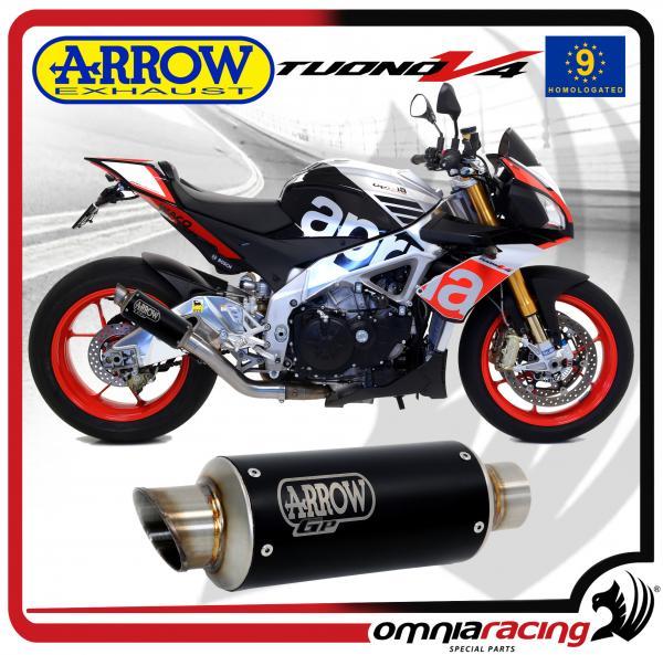Arrow Exhaust Gp2 Stainless Steel Dark Silencer Homologated For Aprilia Tuono V4 Rr 2015>2016: Aprilia Tuono Exhaust At Woreks.co