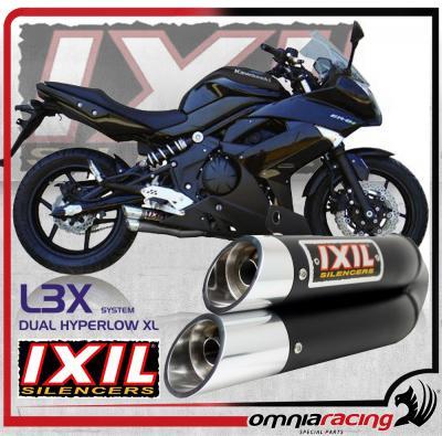 Ixil L3XB Dual Hyperlow Black Slip On Exhaust homologated for Kawasaki ER  6N/6F (ER6N/ER6F) 2005>11