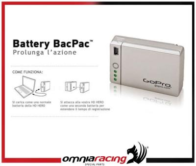 Battery BacPac per Go Pro Hero 1080p kit batteria supplementare Bac Pac 2.0