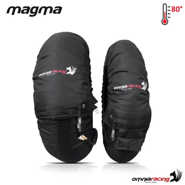 Pair of motorcycle Tyrewarmer Magma Prima EVO black complete set 120 front 190/200 rear