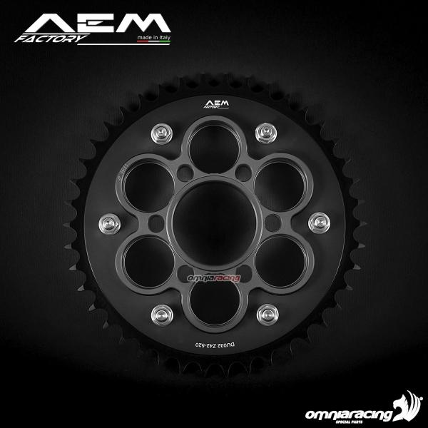 AEM Factory ergal rear sprocket kit size 525 with black crown holder Ducati Diavel 1200