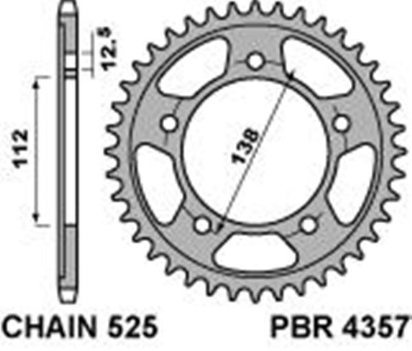 Steel rear sprocket PBR, size 525 teeth 43 for Honda CB600F HORNET ABS 2007>2013