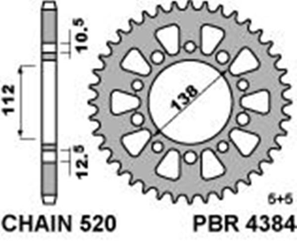 Hardened ergal rear sprocket PBR, size 520 teeth 43 for Honda 600 HORNET (520) 2007>2012