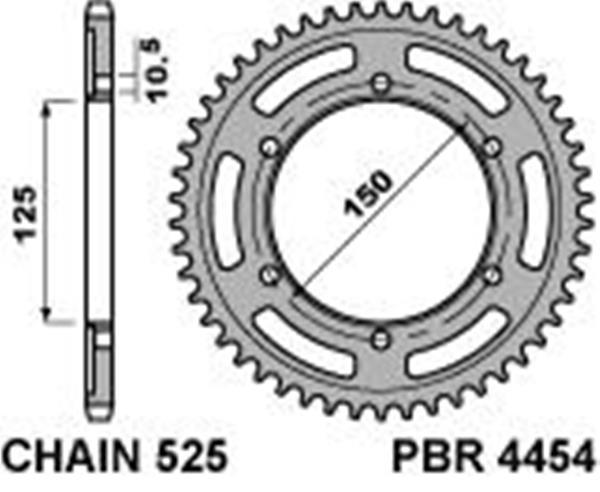 Steel rear sprocket PBR, size 525 teeth 42 for KTM 1290 SUPER ADVENTURE  2015>2016