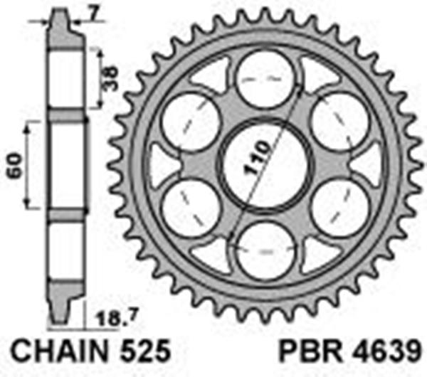 Hardened Ergal Rear Sprocket Pbr Size 525 Teeth 39 For Ducati 1299