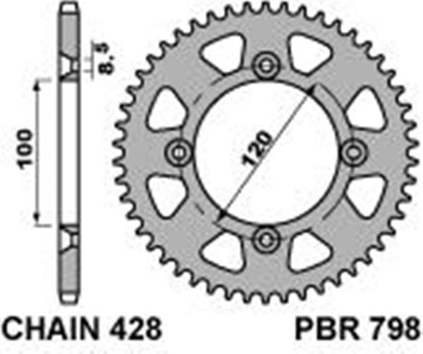 Ergal rear sprocket PBR, size 428 teeth 47 for Yamaha YZ85 2002>2017